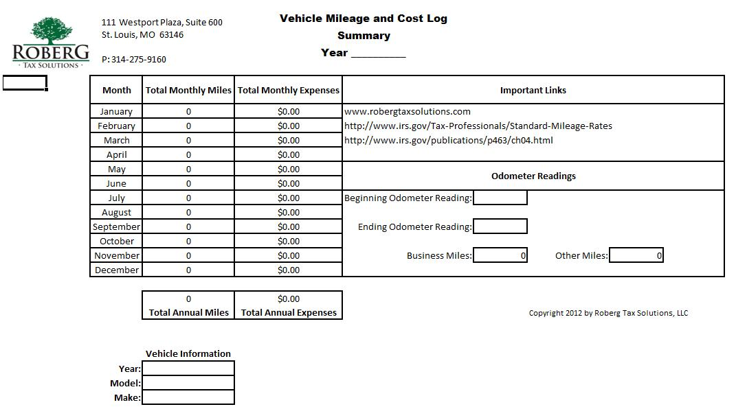 mileage form for taxes